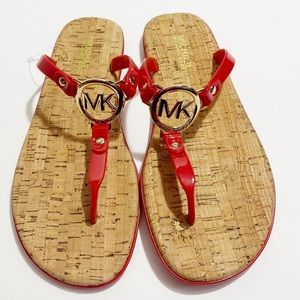 NWOT Michael Kors Red Jelly Cork Sandals